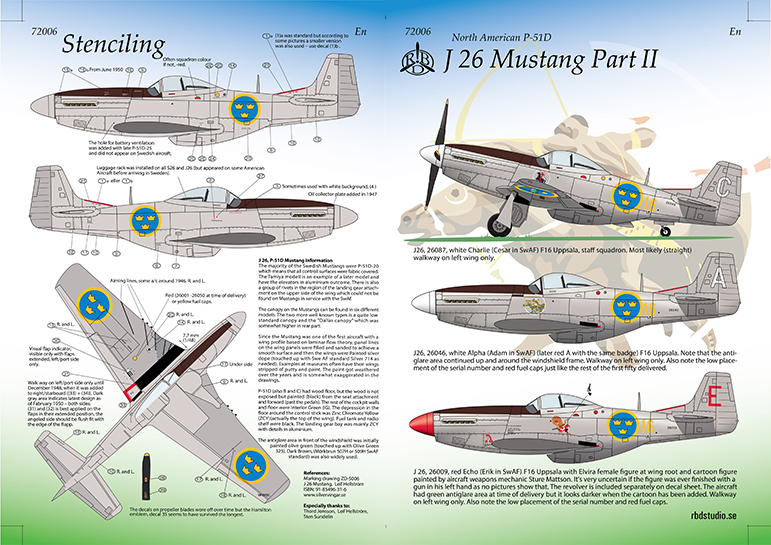 J 26 Mustang Dekaler Swedish Decals 1/72