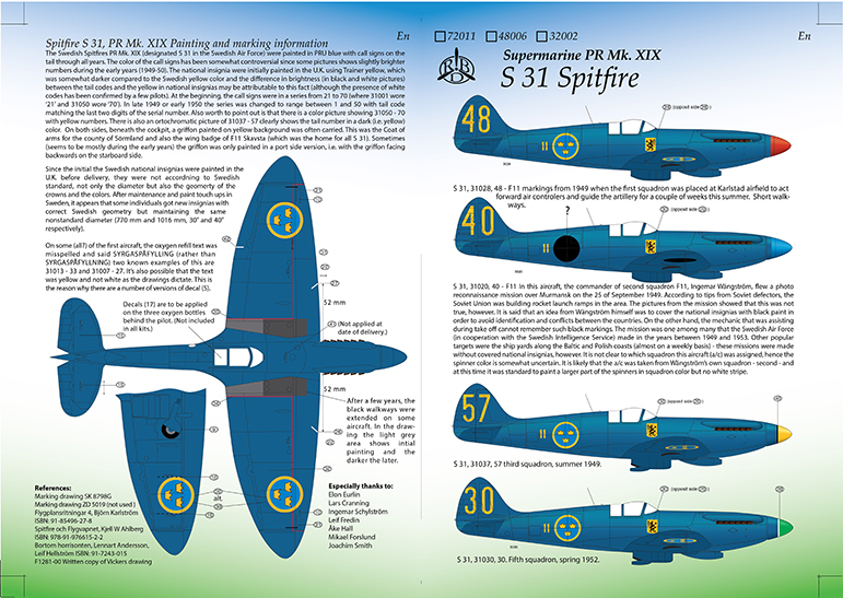 S 31 Mk XIX Spitfire Decals Instruction
